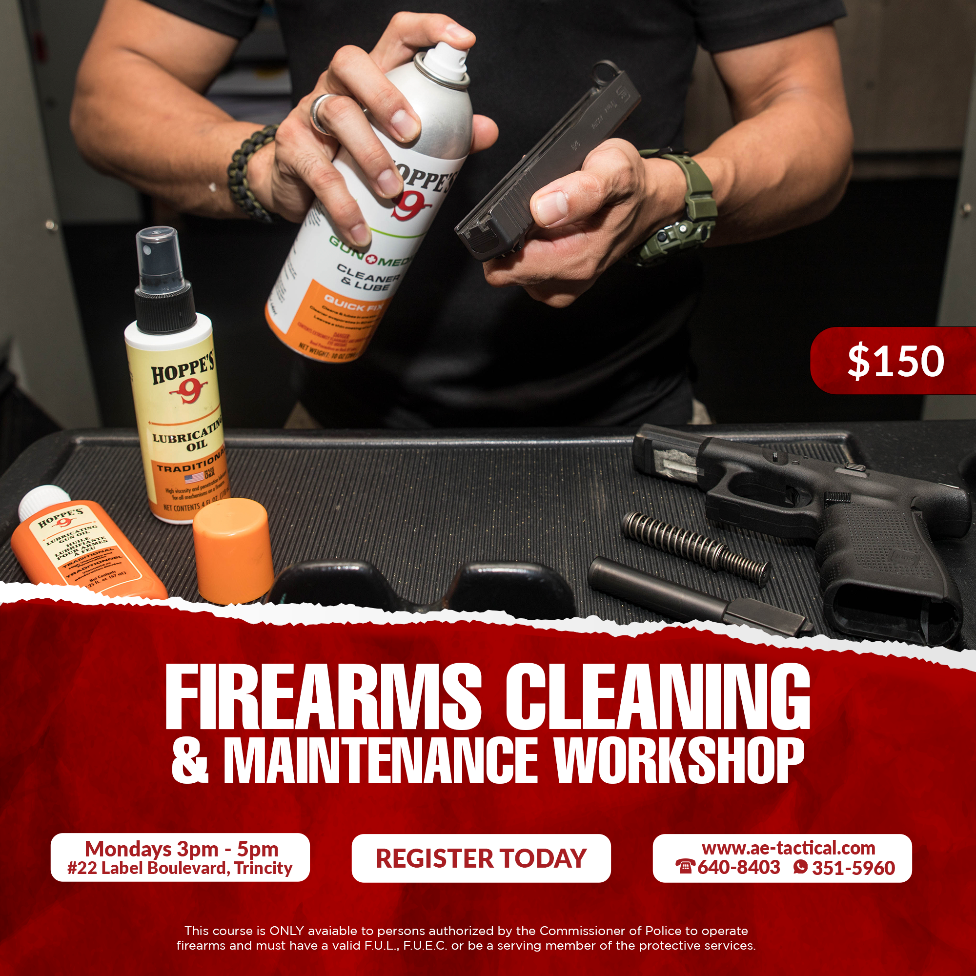 firearm cleaning poster. a man holding a gun slide about to spray a cleaner on it